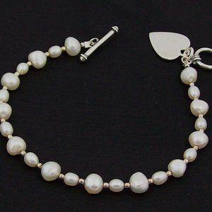 Pearl Toggle Bracelet w/Heart Charm